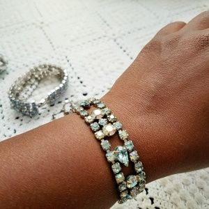 ⛏Vintage💋Something Blue Rhinestone Bracelet
